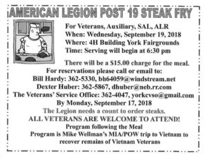 AMERICAN LEGION POST 19 STEAK FRY @ York | Nebraska | United States