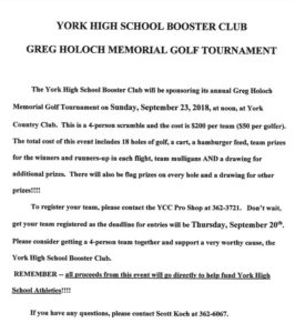 YORK HIGH SCHOOL BOOSTER CLUB GOLF TOURNAMENT @ York | Nebraska | United States