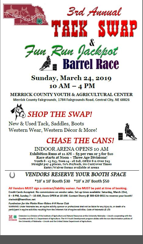 3rd Annual Tack Swap and Fun Run Jackpot Barrel Race