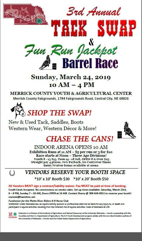 3rd Annual Tack Swap and Fun Run Jackpot Barrel Race