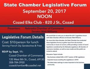 State Chamber Legislative Forum-Cozad
