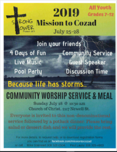 Mission to Cozad - All Youth Grades 7-12