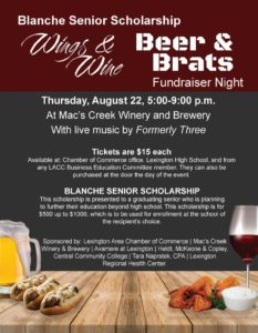 Wings & Wine Beer and Brats Fundraiser Night - Lexington @ Mac's Creek Winery & Brewery