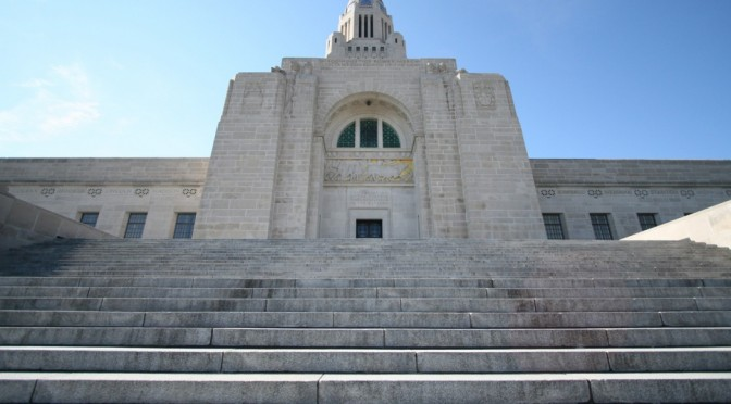The north steps of the Nebraska State Capitol Building. (Nebraska Unicameral Information Office)