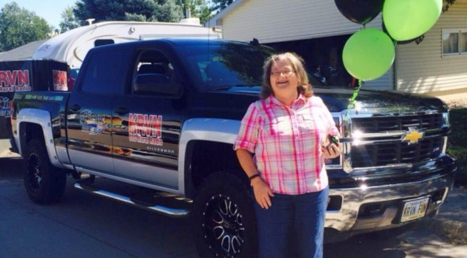 RRN/ Rhonda Davison of Kearney winner of the 2014 Work Hard Play Hard Chevy Silverado.