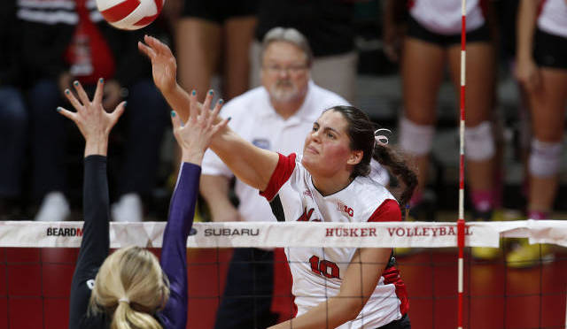 Alicia Ostrander had a career high 19 kills for the Huskers(Photo Courtesy of UNL Sports Information)