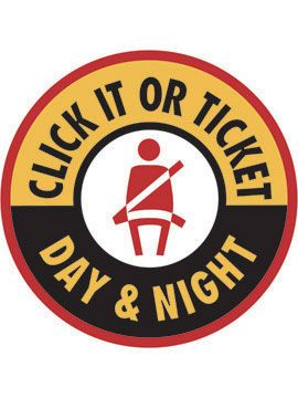 Courtesy/ National Highway Transportation Safety Administration.   Click It or Ticket.