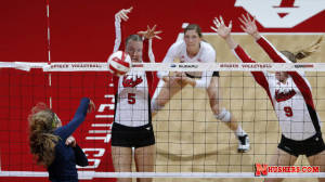 Husker Block Party Spurs Senior Night Sweep