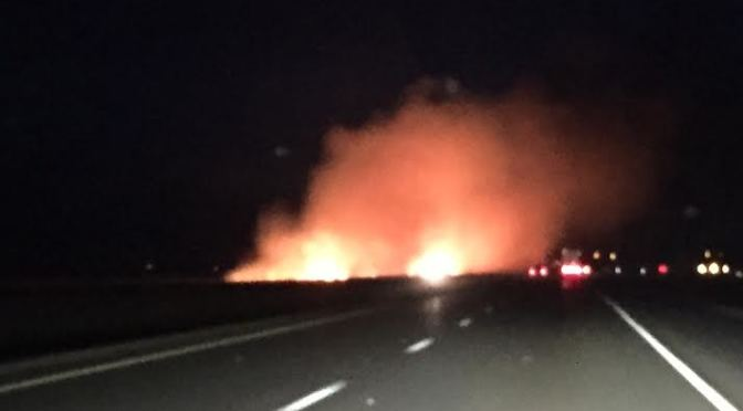 Courtesy/Photo taken by a listener of grass fires east of Lexington in the north ditch of Interstate-80