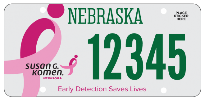 Courtesy/Komen Nebraska/breast cancer early detection awareness license plate