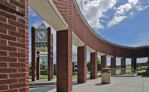 Main entrance to the Student Center, with the Lindeken Clock Tower. (Courtesy/Chadron State College)