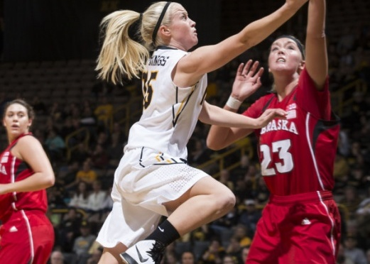 NU's Emily Cady had a big game, but it wasn't enough for Huskers. Picture Courtesy Iowa Media Relations