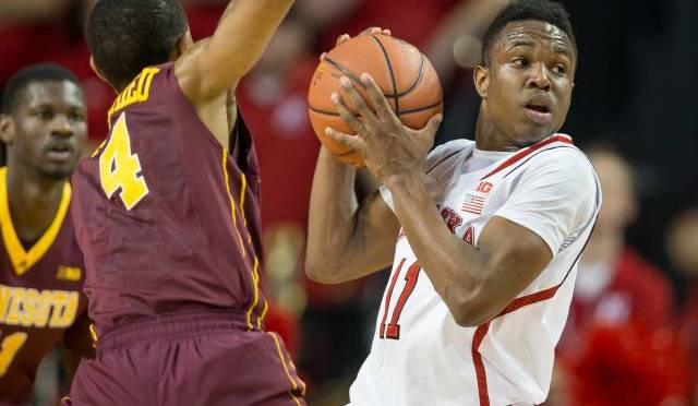 Tarin Smith had eight points and seven rebounds in loss at Michigan(Photo courtesy of UNL Sports Information).