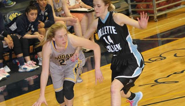 WNCC Kalli Feddersen drives to the bucket on a GIllette player. WNCC won its regular season finale 76-57(Photo courtesy of WNCC Sports Information).