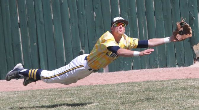 WNCC's Ty Wilson lays out for a diving catch during the Cougars game with McCook Community College Sunday afternoon at Cleveland Field(Photo courtesy of WNCC Media Relations).
