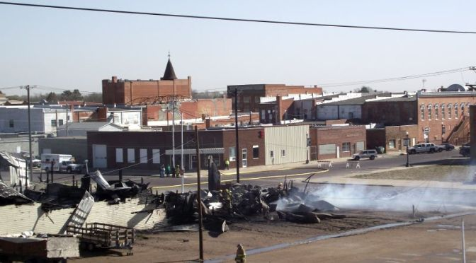 RRN/ by Melinda Garrelts.  View of Roof Pros warehouse building that burned on March 29, 2015.