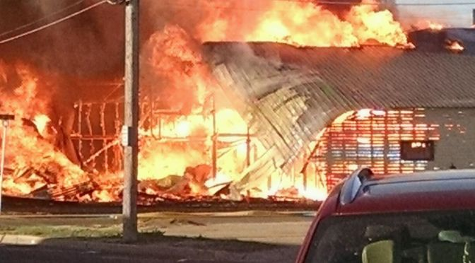 COURTESY/ Roof Pros warehouse building destroyed in fire on Sunday March 29, 2015.