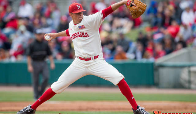 Derek Burkamper pitched into the 9th for the Huskers(Photo courtesy of NU Media Relations).