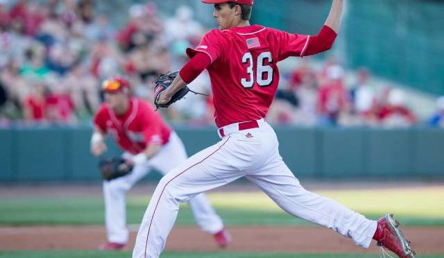 Garett King pitched 8-strong innings for the Huskers(Photo courtesy of NU Media Relations).