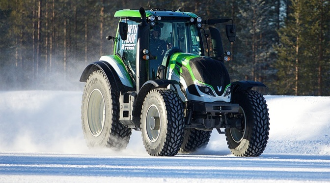On a snowy track in Finland, a Valtra tractor raced to a new world record speed of 80 mph. (Image courtesy of Valtra.com)