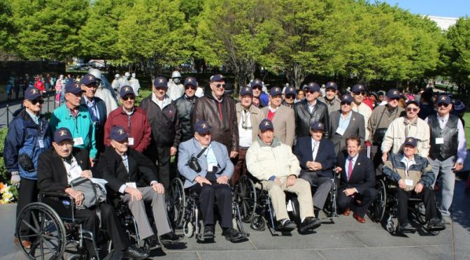 Courtesy/ Rep. Adrian Smith's Office.  Congressman Smith and Nebraska Korean War Hero Flight veterans at the Korean War Veterans Memorial in D.C. on Friday April 24, 2015.