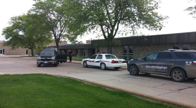 Cozad Police in front of school this Thursday morning. RRN Photo