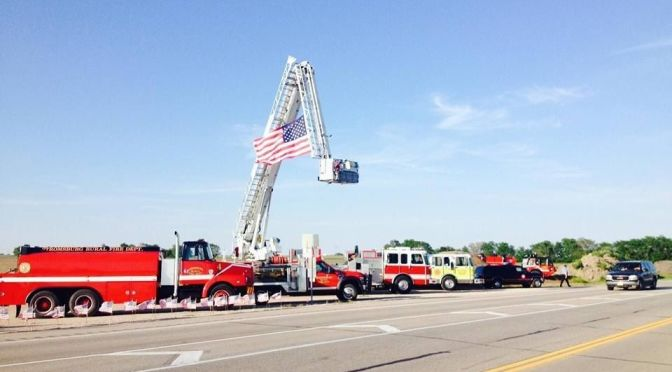 Courtesy/Osceola Fire and Rescue. Procession of Captain Dustin Lukasiewicz makes its way through Polk County.