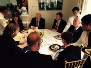 Courtesy of Stan Garbacz. Dinner hosted at Ambassador Gardner's residence.