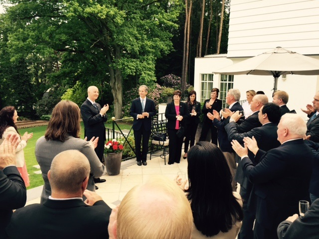 Courtesy of Stan Garbacz. Governor Ricketts and Ambassador Gardner both speak the dinner hosted at the Ambassador's residence.