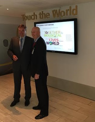 Courtesy of Matt Miltenberger. Governor Pete Ricketts meets with Novozymes CEO Peder Holk Nielsen.