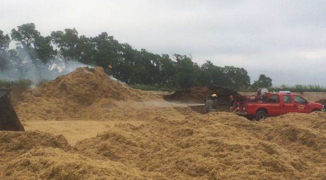 RRN/Ground up hay caught on fire from hay grinder.