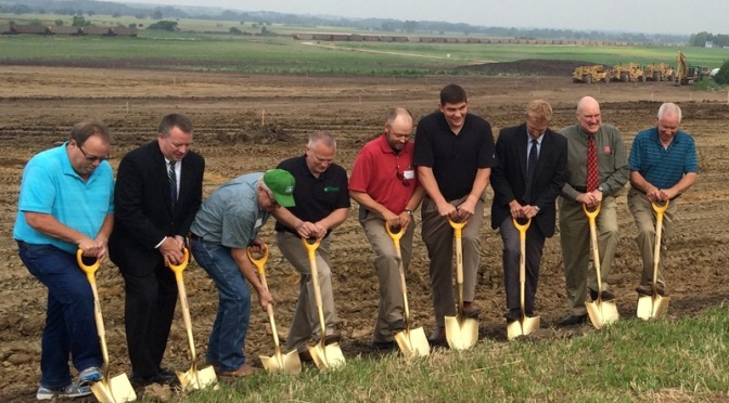 Midwest Farmers Cooperative Board Members and Executive Staff break ground on a new unit train facility. (RRN Photo)