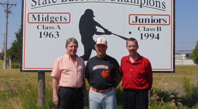 Courtesy/ Lexington Area Chamber of Commerce.  Tom Stuckey; Tom Lauby, Asst Coach Pinnacle Bank Seniors Legion Team and Rob Kueffner, Pinnacle Bank Seniors Legion board member.