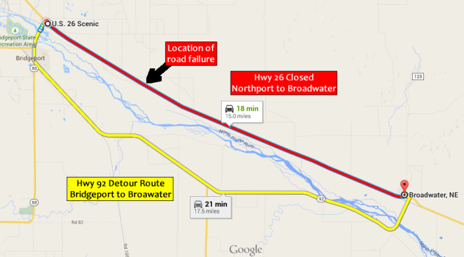 Highway 26 is closed from Northport to Broadwater due to a roadway failure. Motorists will detour via Highway 385 and 92. (KNEB/Google Maps)