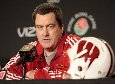 FILE - In this Dec. 28, 2011, file photo, then-Wisconsin offensive coordinator Paul Chryst speaks at a news conference ahead of the Rose Bowl NCAA college football game in Pasadena, Calif. Chryst returned to Wisconsin as head coach to replace Gary Andersen. He takes over a Badgers team that won the Big Ten West title last year. (AP Photo/Jason Redmond, file)