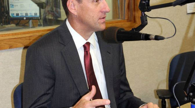 RRN/ University of Nebraska President Hank Bounds interviews at KRVN Radio on Thursday July 30, 2015.