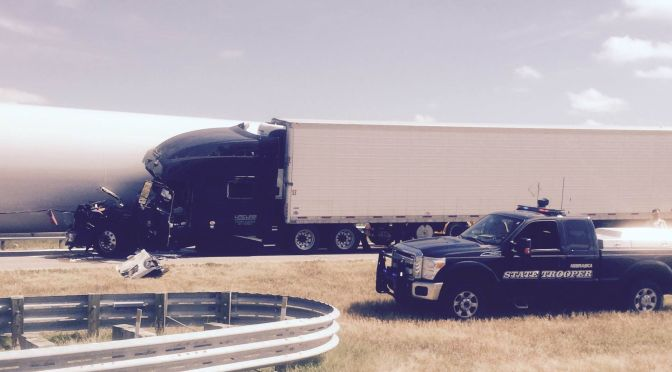 RRN/ Scene of accident about two miles east of Elm Creek on Interstate 80 Thursday morning July 30, 2015.