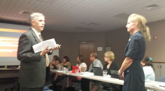 RRN/  At Lexington Regional Health Center Board meeting on Tuesday June 30, 2015.   Chief Financial Officer Wade Eschenbrenner(left) and Chief Executive Officer Leslie Marsh give presentation in response to board member Dr. Mark Jones' request for expenditure data.