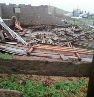 An outbuilding was destroyed from a possible tornado northwest of Morrill Sunday afternoon. (Courtesy/Shane Trompke)
