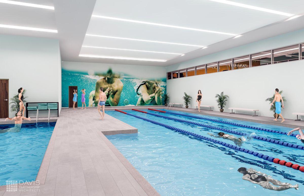 Courtesy Davis Partnership Architects Gothenburg Wellness And Fitness Center Pool Rendering