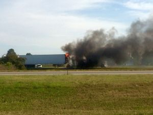 (VIDEO) Semi catches on fire Tuesday near Lexington