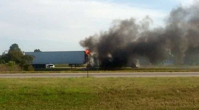 RRN/ Westbound semi on fire near Lexington interchange on Interstate 80 late Tuesday afternoon.