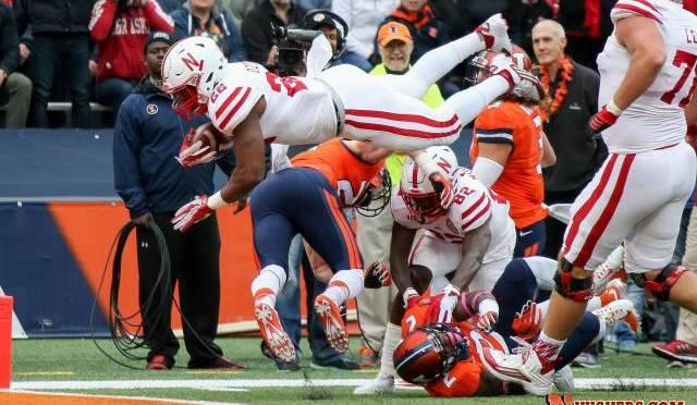 Devine Ozigbo scored his first career touchdown to help the Huskers. Photo Courtesy Scott Bruhn/Nebraska Communications