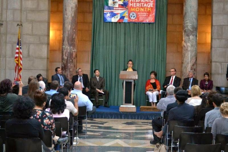 hispanic heritage month celebration held in lincoln radio courtesy latino american commission hillary carrillo at podium reads her first place