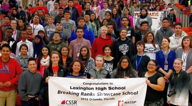 "Courtesy/ Paul Pack (Lexington Clipper-Herald).   Lexington High School to be featured as a ""Breaking Ranks Showcase School""."