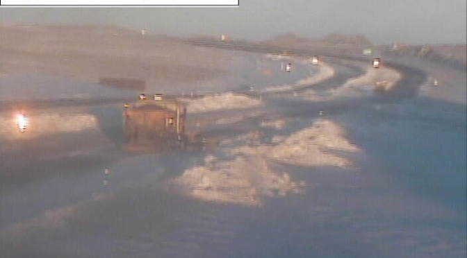 WYDOT crews work on clearing snow from Interstate 80 Sunday morning. (Courtesy: WYDOT.)