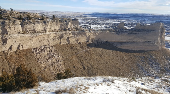 Rocks can be seen covering Saddle Rock Trail at Scotts Bluff National Monument following December rock slide. (Scotts Bluff National Monument photo)