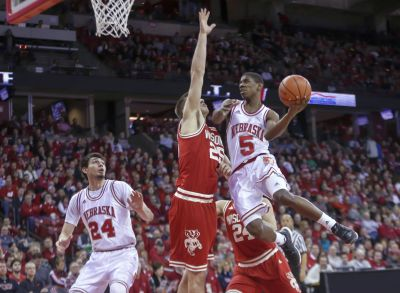 Nebraska's Glynn Watson (5) shoots against Wisconsin's Alex Illikainen (25) during the first half of Wednesday  in Madison, Wis. (AP Photo/Andy Manis)