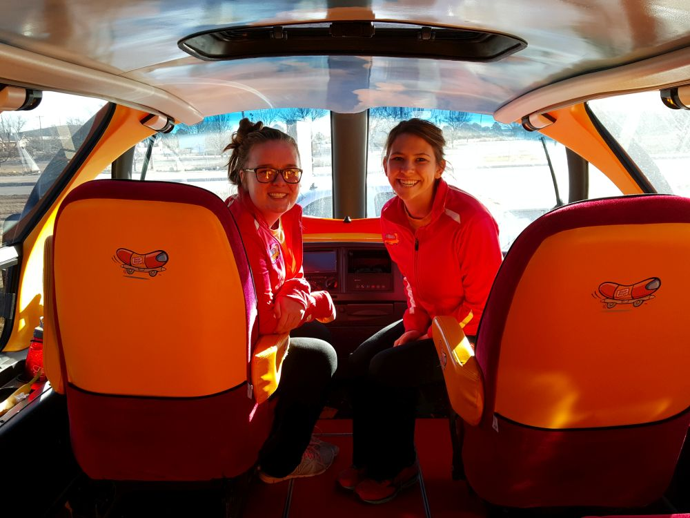 rrn ketchup kelle and mustard molle inside the wienermobile. Black Bedroom Furniture Sets. Home Design Ideas