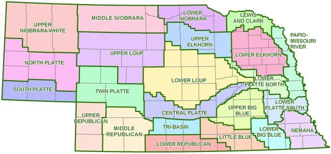 Courtesy/ UNL Nebraska Water Center.   Map of the state's 23 NRDs.